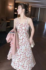 碎花吊带连衣裙女2021新款春夏季仿冰丝A字裙韩版中长裙修身流行