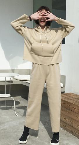 实拍#815  【已出货250克卫衣】  韩版休闲阔腿裤套装女两件套