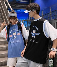 2273#【实拍 6535棉】港风假两件情侣短袖T恤设计感拼接半袖上衣