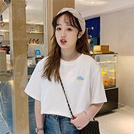 3890# 短袖女简约bf风2019夏季韩版港风卡通刺绣宽松上衣洋气衣服