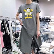 30467[180克双磨牛奶丝]夏季休闲大码中长款过膝T恤裙子女连衣裙