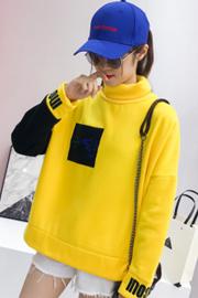 6013#实拍250克高领学生上衣女韩版原宿bf学院风加绒长袖卫衣潮