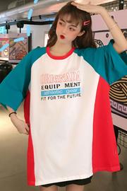 7742#(6535棉)韩版拼色INS超火学院风中长款短袖T恤女【实拍】