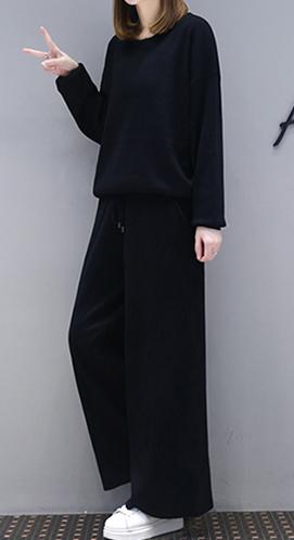 大码女装洋气套装女春装新款胖mm遮肚子藏肉显瘦阔腿裤休闲两件套
