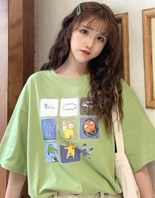 实拍739#(6535精梳拉架棉 有小视频)韩版ins潮网红印花T恤宽松