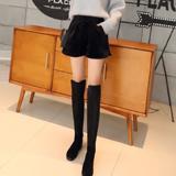 金丝绒短裤女 外穿 秋冬款 加厚适合舒适阔腿裤纯黑柔软