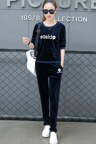 610#金丝绒运动套装女新款圆领天鹅绒休闲运动套装女跑步瑜伽服