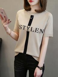 931#实拍 夏季新款冰丝针织衫圆领短袖T恤女韩版拼色字母显瘦上衣