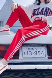 实拍9210#裤子hiphop运动裤女学生韩版原宿bf风宽松潮校服束脚裤
