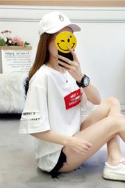 8818#(6535)韩版切破学院贴布夏短袖T恤女【实拍】