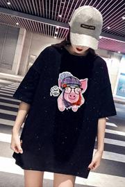 18#小猪韩版大码t恤女短袖2019夏新款宽松中长款亮闪闪网红上衣潮