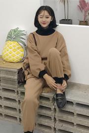 韩版时尚休闲套装秋冬女装半高领刺绣加厚卫衣外套+束脚裤两件套