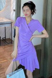 #558【官图】紫色连衣裙女装夏季褶皱气质V领短袖T恤裙 /量大价低