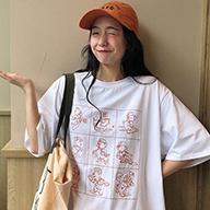 每天12点上新 B041#款实拍6535棉 中长款可爱卡通T恤