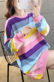 2213#(95棉5氨纶)韩版彩虹条长袖中长款秋季卫衣女【实拍】