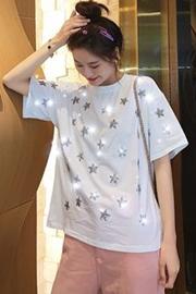 771#【实拍 纯棉】网红港风闪闪星星纯棉短袖T恤女打底衫
