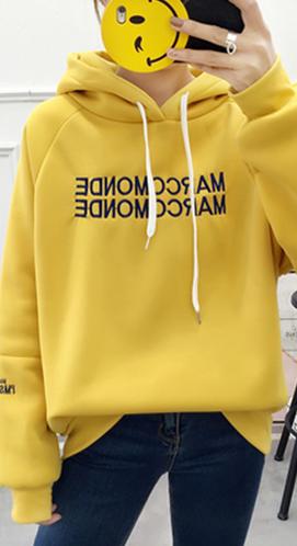 7205#【实拍#现货】新款韩版连帽字母印花加绒加厚卫衣秋冬学生