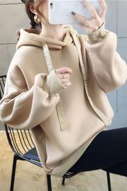 1504#(100聚酯纤维) 加绒字母带冬季卫衣女【实拍】
