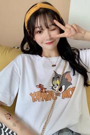 1576#实拍图 6535 网红猫和老鼠短袖t恤女ins超火韩版宽松上衣服