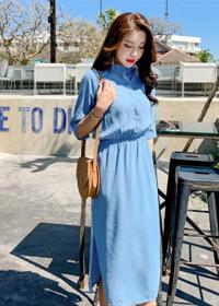 赫本长裙2019新款女装韩版时尚开叉裙子潮气质收腰显瘦连衣裙女夏