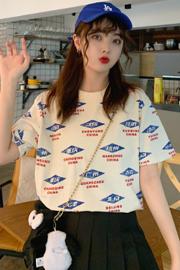 1038# 实拍有小视频 6535棉 新款韩版宽松短袖T恤潮