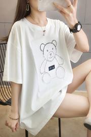 【实拍图】35棉2021新款凹凸烫钻贴布韩版宽松短袖t恤女中长款