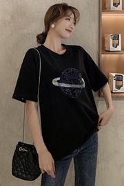 (6535精梳棉)短袖亮片T恤女春夏季新款