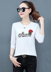 长袖T恤女2020春秋新款韩版修身上衣夏季圆领印花洋气百搭打底衫