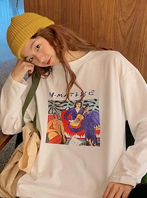 1390#【实拍图】6535棉  长袖t恤打底衫女