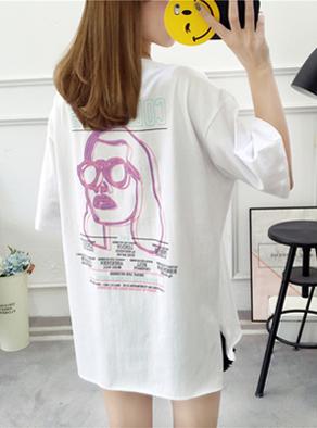 9050#实拍春夏新款200斤胖MM宽松加大短袖t恤女 (纯棉)2色