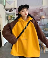 317#(250克卫衣)韩版ins拼色蝙蝠袖印花套头卫衣女