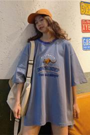 501#(实拍图65/35拉架棉)短袖T恤女宽松绣花超火cec大码女装ins潮
