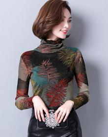 高弹加绒保暖打底衫女秋冬季高领长袖T恤修身显瘦大码女装上衣