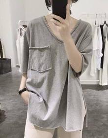 含棉开叉t恤女式夏季宽松显瘦韩版卷边前短后长短袖v领棉上衣学生