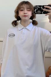 实拍#polo衫短袖t恤女夏季新款韩版字母刺绣宽松半袖上衣ins潮