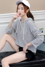 实拍薄卫衣大尺寸chic韩版系带连帽排口条纹宽松显瘦卫衣长袖上衣