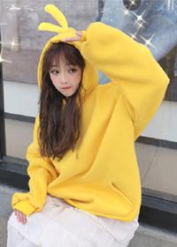 2018新款秋冬韩版宽松纯色网红小黄鸭连帽加绒加厚卫衣上衣外套女