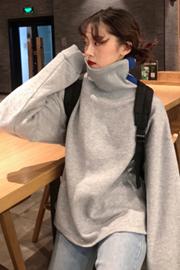 875#实拍 250克加绒!秋冬女装韩版宽松拼色高领加绒加厚套头pp