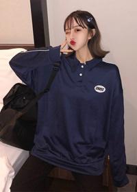 512#【实拍 6535薄款卫衣】韩国ins超火polo领衫卫衣薄款套头上衣