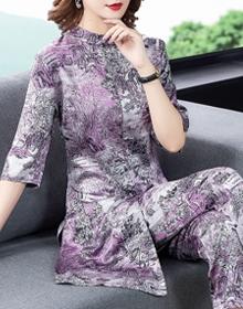 套装女夏季新款女休闲时尚雪纺套装洋气显瘦两件套潮九分裤