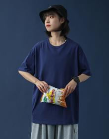 26支棉175克8色中性韩版短袖正肩T恤女宽松大码情侣上衣【实价】