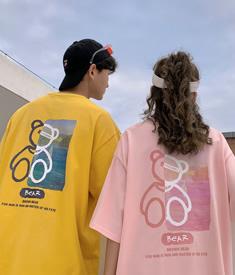 2247#【实拍 6535棉】小众潮牌短袖t恤女夏季大码半袖学生情侣装