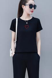 休闲时尚运动套装女夏季2020韩版新款宽松短袖长裤纯棉两件套夏装