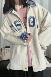 【双层有内里】复古宽松字母拼色棒球服女装秋季百搭显瘦工装外套