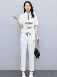 运动套装女2021夏季新款韩版时尚立领短袖运动休闲长裤两件套女装