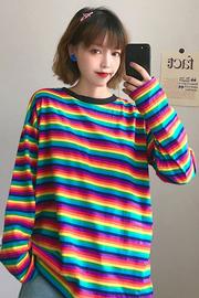 1428#【实拍图】6535拉架 彩虹条纹长袖t恤女