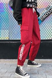 官网310#bf风运动裤女韩版学生ulzzang百搭ins超火的hiphop工装裤