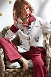 新款纯棉女睡衣草莓印花开胸长袖红色家居服女学生可爱休闲两件套