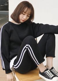 022#实拍薄厚可选 韩版运动休闲套装时尚卫衣上衣+长裤学生两件套