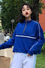 (实拍)8647#韩版原宿气质百搭撞色短款拉链卫衣长袖上衣学生